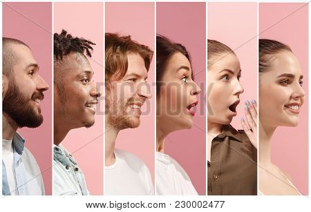 Collage From Profiles Of Smiling Men And Women Looking With Happy Emotions. The Collage Of Happy Sur