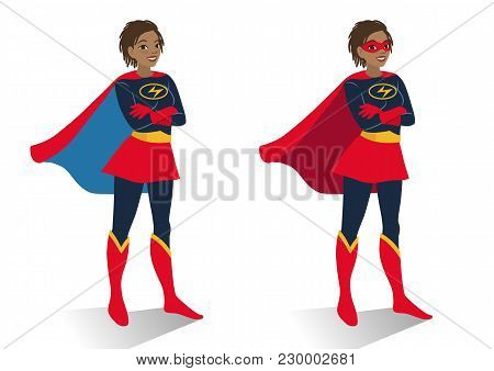 African American Superhero Woman In  Costume And Mask Standing With Crossed Arms. Vector Cartoon Cha