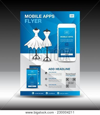 Mobile Apps Flyer Template For Boutique Shop. Business Brochure Flyer Design Layout. Smartphone Icon