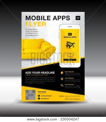 Mobile Apps Flyer Template. Business Brochure Flyer Design Layout. Smartphone Icon Mockup. Applicati