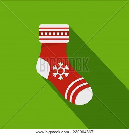 Christmas Sock Icon. Flat Illustration Of Christmas Sock Vector Icon For Web