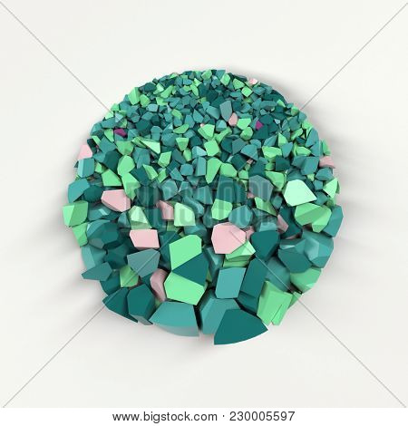 crushed coloured stone circle, 3d illustration