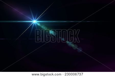 Abstract Galactic Space Scape Background With Distant Stars.beautiful Lens Flare Effect.colorful Dig