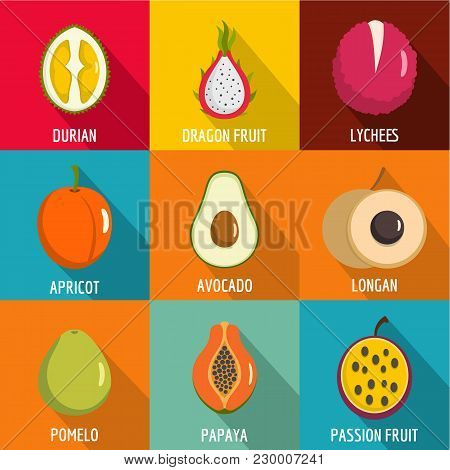 Vitamine Icons Set. Flat Set Of 9 Vitamine Vector Icons For Web Isolated On White Background