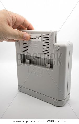 Bangkok, Thailand - March 7, 2018: Retro Freak Console In White Color, Vintage Portable Game From Ja