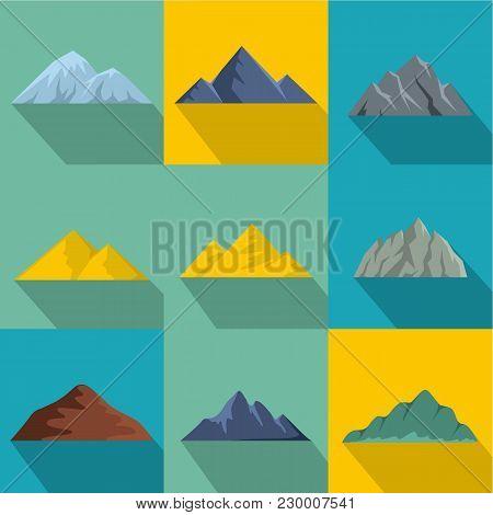 Highest Peak Icons Set. Flat Set Of 9 Highest Peak Vector Icons For Web Isolated On White Background