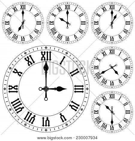 Clock With Roman Numerals. Set. Vector Illustration Isolated On White Background