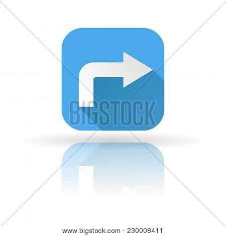 Arrow Icon. Blue Sign With Shadow And Reflection. Right Arrow. Vector Illustration