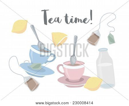 Vector Collection Of Cute Illustrations Of Tea Making With Two Cups, Spoons, Lemons And Bottle Of Mi