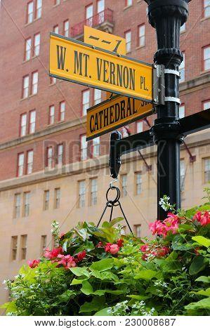 Baltimore, Maryland Usa. Famous Landmark - Mount Vernon Place.