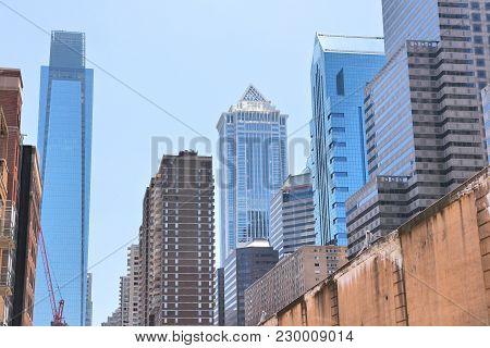 Philadelphia, Pennsylvania. Modern City Skyline With Office Buildings.