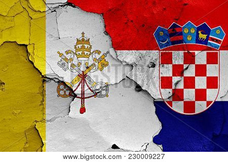 Flag Of Vatican And Croatia Painted On Cracked Wall