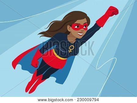 Superhero Woman In Flight. Attractive Young African American Woman Wearing Superhero Costume With Ca