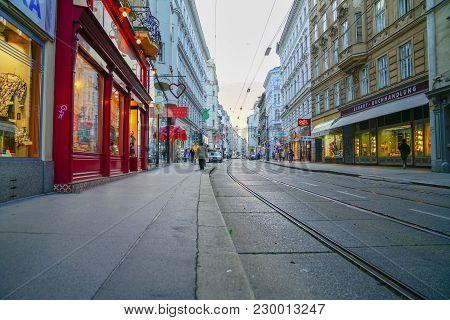Vienna,austria - September 5 2017;  Lights, Buildings And Tram Tracks Along Inner City Night Streets