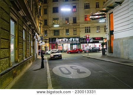 Vienna,austria - September 5 2017;  Lights And Buildings Line Inner City Night Streets Lined On Both
