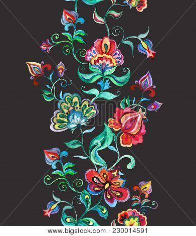 Eastern European Floral Decor - Decorative Flowers At Dark Background. Seamless Floral Border. Water