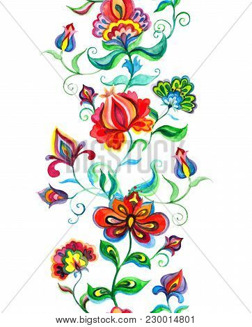 Ethnic Eastern European Floral Frame - Seamless Floral Border With Native Flowers. Watercolor