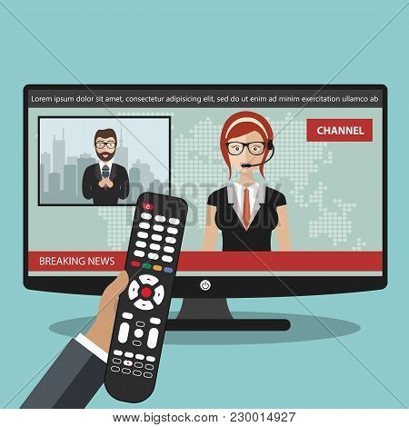 Breaking News Concept. News On Television With Remote Control. News Anchor Broadcasting The News Wit