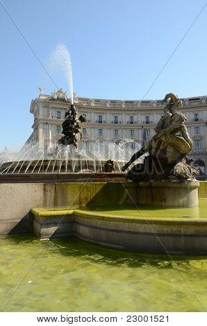 Fountain of the Naiads in the Repubblica square in Rome; Italy