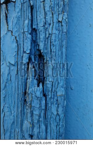 Weathered Paint On Old Blue Wooden Wall