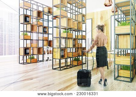 Ligth Wooden Wall Office Corner With A Wooden Floor A Black Bookcase And A Large Window. A Businessw