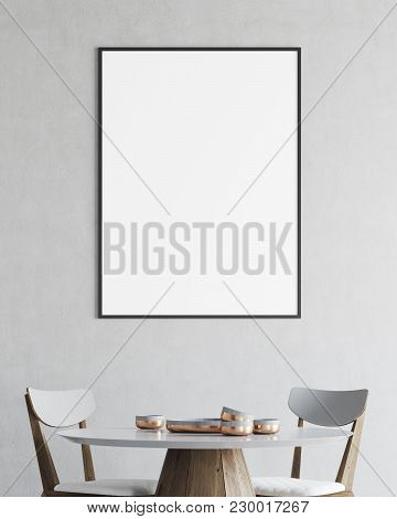 Minimalistic White Dining Room Interior With A Round Wooden And White Table And Chairs. A Framed Ver