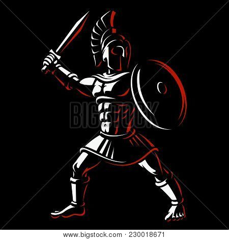 Spartan Warrior. Vector Illustration Of Gladiator On Dark Background.
