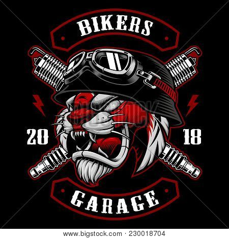 Tiger Biker With Spark Plugs. Vector Illustration With Motorcycle Rider. Design Of Biker Patch. All