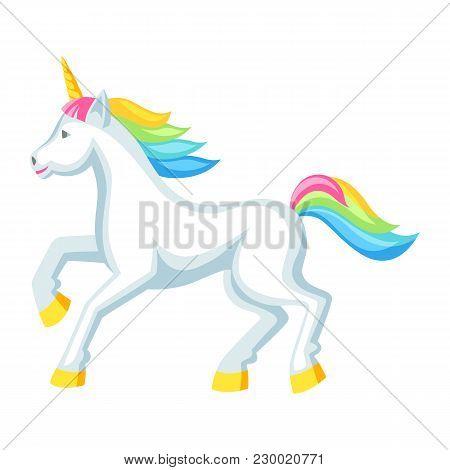 Fantasy Pretty White Unicorn With Colorful Mane. Cartoon Illustration.