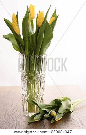 Spring Tulips In A Crystal Vase Isolated On White Background Close Up
