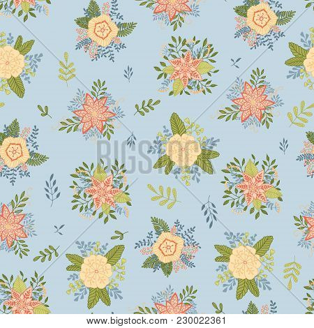 Vector Hand-drawn Floral Seamless Pattern. Tender Background With Flowers, Berries, Leaves
