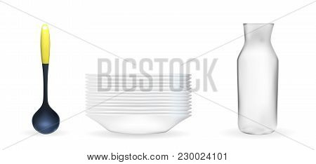 Set Of Realistic 3d Model Of A Deep White Dish, Ladle, Glass Jar. Vector Illustration. Eps10
