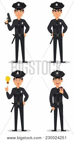 Police Officer, Policeman. Set Of Cartoon Character Cop With A Gun, Angry, With A Good Idea And With