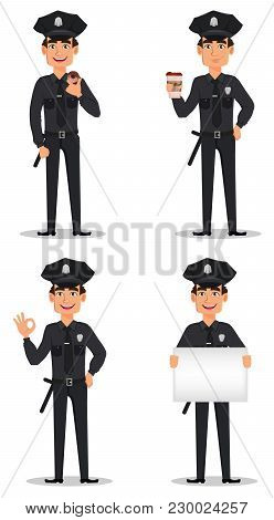 Police Officer, Policeman. Set Of Cartoon Character Cop With Cup Of Coffee, With Donut, Showing Ok S