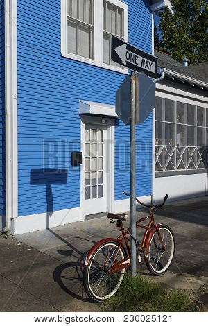 Detail Of The Facade Of A Colorful House And A Bicycle, In The Marigny Neighborhood In The City Of N
