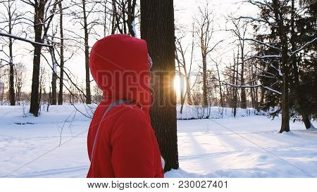 A Girl In A Red Down Jacket Walks In The Woods In Winter At Sunset, Slow Motion