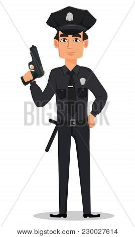 Police Officer, Policeman With A Gun. Smiling Cartoon Character Cop. Vector Illustration Isolated On