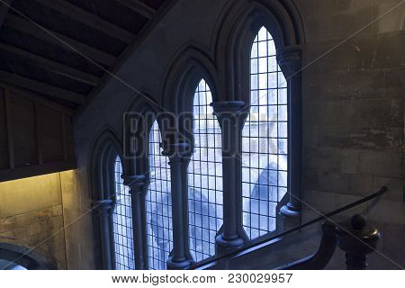 London, Uk - April 22, 2016: Windows Of Church In Islington London Uk