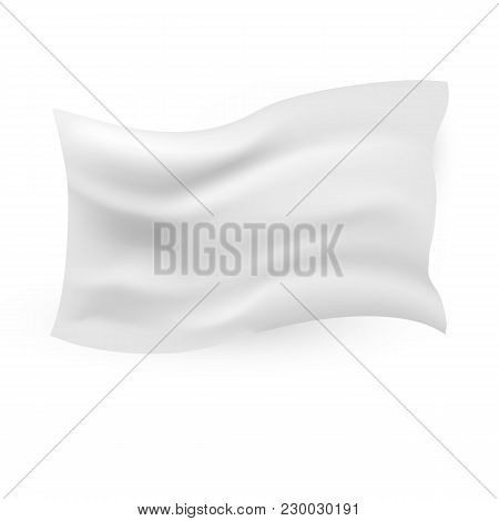 White Waving Flag Template On White Background. Clean Horizontal Canvas, For Your Design. Empty Blan