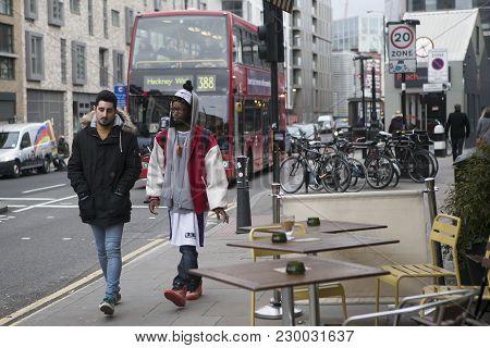 London, Uk - April 22, 2016: Two Fashionably-dressed Friend Go On Brick Lane