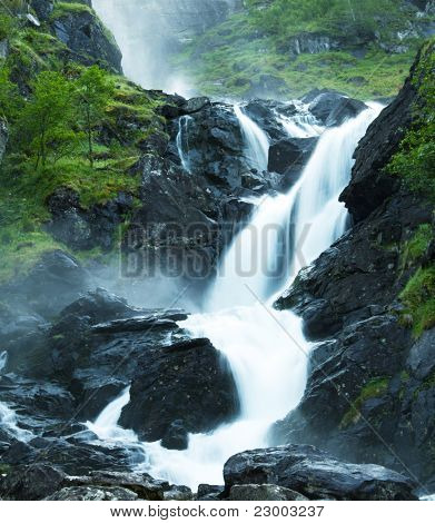 Latefossen waterfall in Norway poster