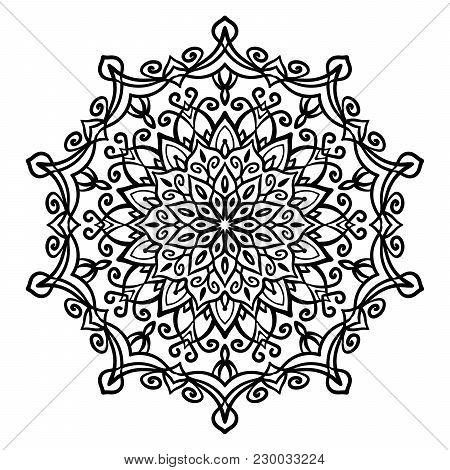 Mandala Vector Design Element. Round Ornament Decoration. Line Flower Pattern. Stylized Floral Motif