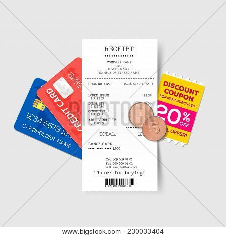 Vector Sales Printed Receipt With Credit Card, Discount Coupon And Coins. Bill Atm Template, Cafe Or