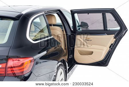 Open Back Door In Modern Car Isolated On White Background