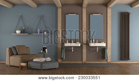 Blue And Brown Modern Bathroom With Double Washbasin And Armchair - 3d Rendering