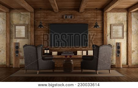Home Cinema In Rustic Style With Two Leather Classic Armchairs ,old Wall And Wooden Beams - 3d Rende