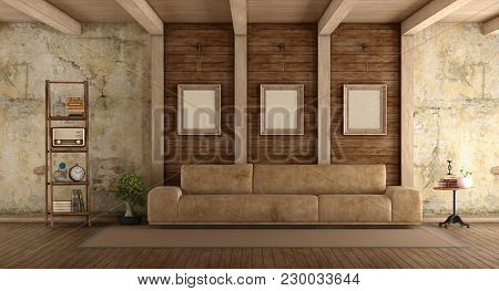 Retro Living Room With Leather Sofa, Old Wall And Wooden Beams - 3d Rendering