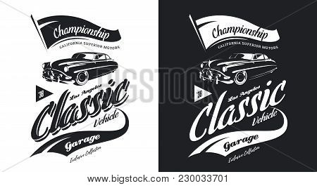 Vintage Classic Vehicle Black And White Isolated Vector Logo. Premium Quality Old Classic Car Logoty