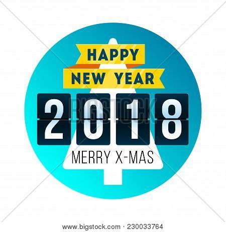 Happy New Year 2018. Concept With Mechanical Flip Clock Design. Year Of The Yellow Dog. Banner With