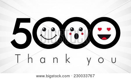 Thank You 5000 Followers Numbers. Congratulating Black And White Thanks, Image For Net Friends In Tw